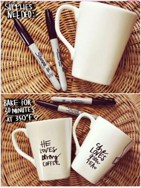 So simple and cute He and She mugs  :D