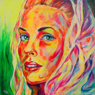 Beauty 02 - Portrait.  Painting: Acrylic on Canvas. Size: 40 H x 40 W x 3 cm Original acrylic painting with neon pigments. No watermark on the original. www.margarita-art.com Artist: #MargaritaKriebitzsch #Kunst #art #portraiture #sun #sunshine #woman #Pop #art #celebrity #gracekelly #Monaco #eyes, #face #girl
