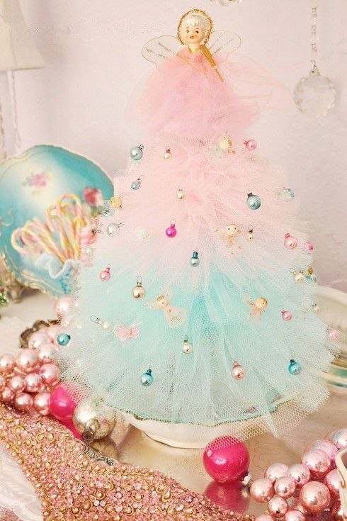 Pastel pink Christmas home decor, Pastel pink tie dye tree decor #Pink…