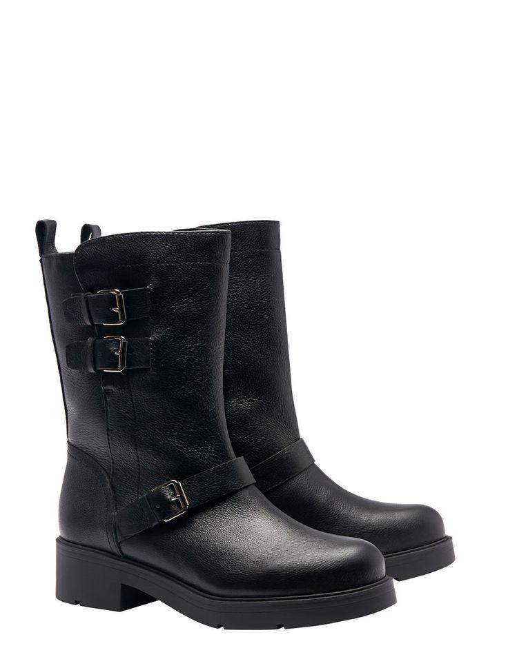 Pennyblack - Stivali in pelle, Nero - Gli stivali sono in pelle. In stile biker, hanno la punta tonda, i tacchi alti 3,5 cm, le fibbie in metallo. - Spedizione e resi gratuiti!