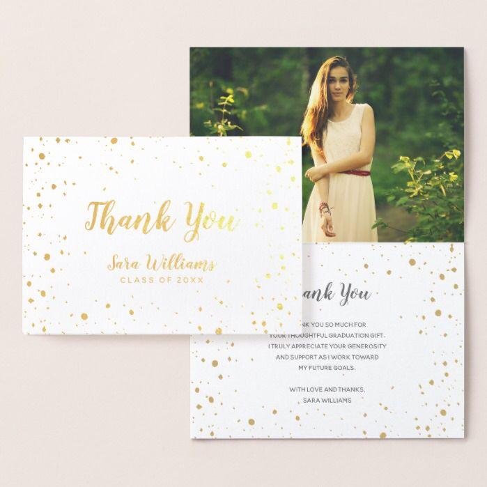 wedding thank you cards time limit%0A Modern Glitz Gold Foil Photo Thank You Card