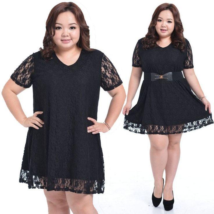 Sexy Lace Hit Color Fat Women Dress Fashion Plus size XXXL 4XL 5XL Large big size Korean Ladies Long Sleeve One piece Clothing-in Dresses fr...