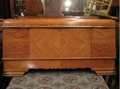 """Art Deco waterfall style Lane blanket chest Satin wood Solid cedar interior with tray 19"""" deep, 46"""" long, 2 ft high Circa 1930s"""