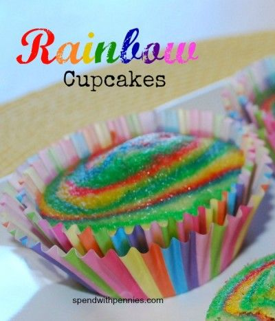 Rainbow Cupcakes Love it?  Be sure to Pin it (just click the photo). Don't forget to follow Spend With Pennies on Pinterest! Bright and colorful, these cupcakes are sure to impress your guests with their sweet stripes. Although the process can take a little more time than a conventional single-color cake, it's still quite easy, and the raves you'll recieve are sure to make up for the bit of extra effort! Print Rainbow Cupcakes Ingredients1 box of white cake mix,  {Read More}