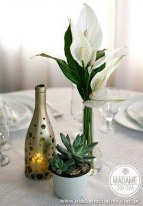 Golden Spray Wine Bottle Candle Holder