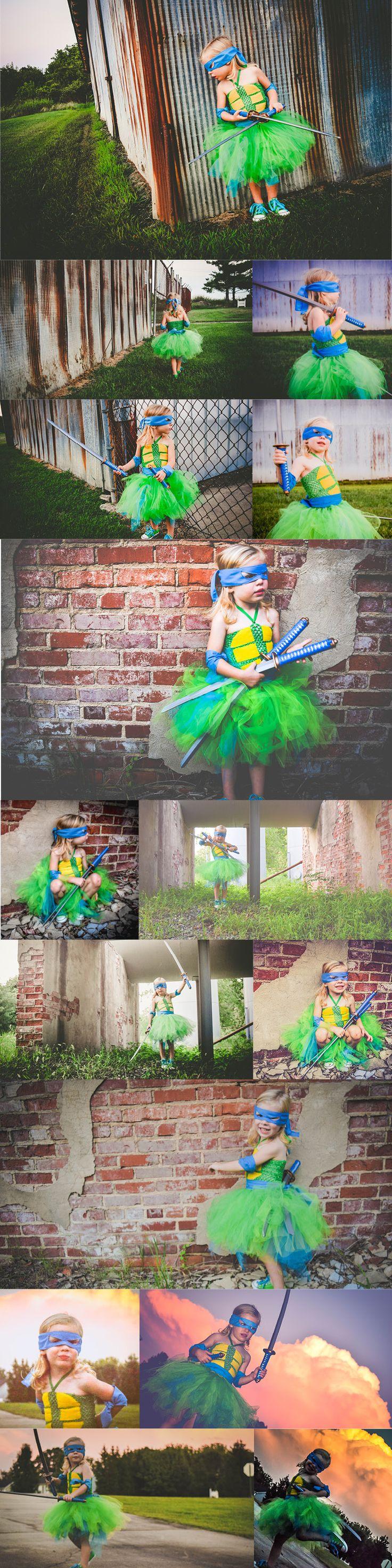 Girl Teenage Mutant Ninja Turtle photo shoot. #TeenageMutantNinjaTurtles #TMNT #Tutu #NinjaTurtle