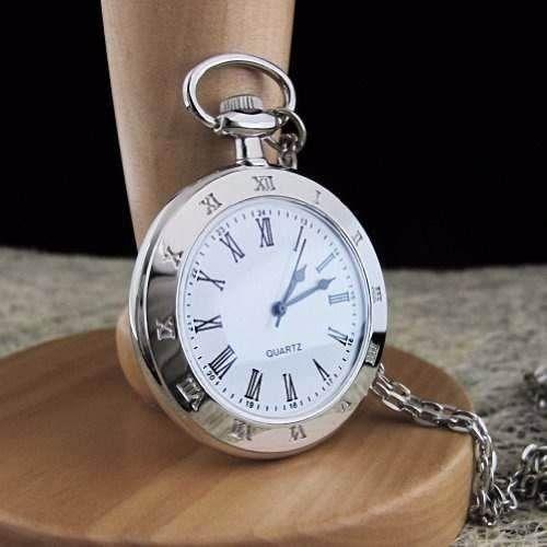 relógio de bolso liso em aço inoxidável