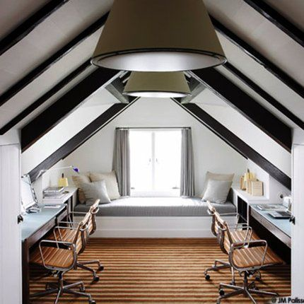 combined office space in the attic with window seat