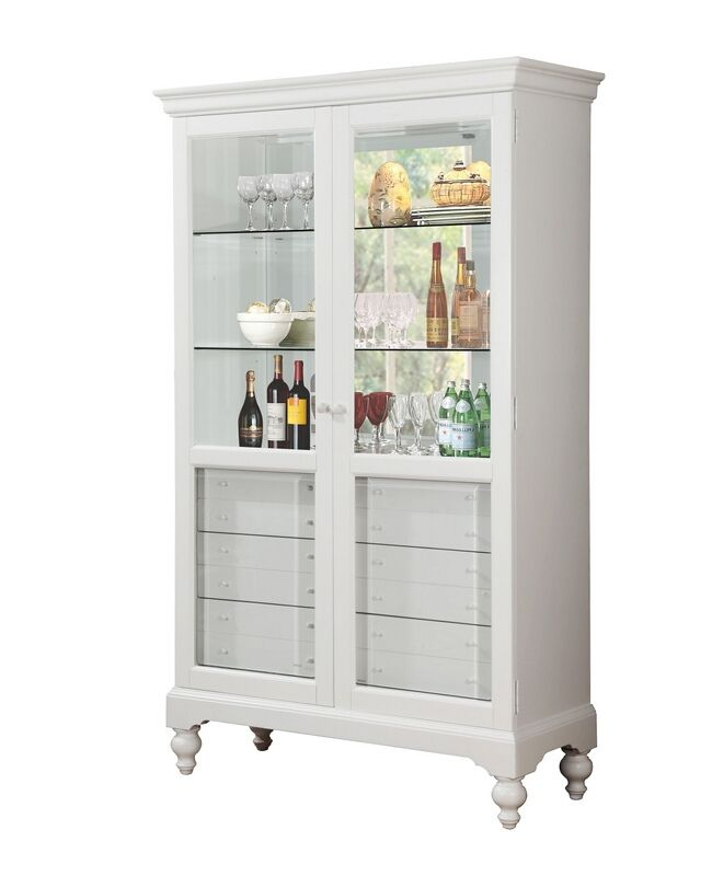 Acme 90107 Dallin White Finish Wood Curio Cabinet With Glass Front