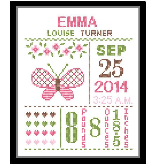1 Cross Stitch custom Pattern Baby Girl Personalised Birth Announcement Birth Record Butterfly Pink Green Brown Nature Woodland Nursery Gift