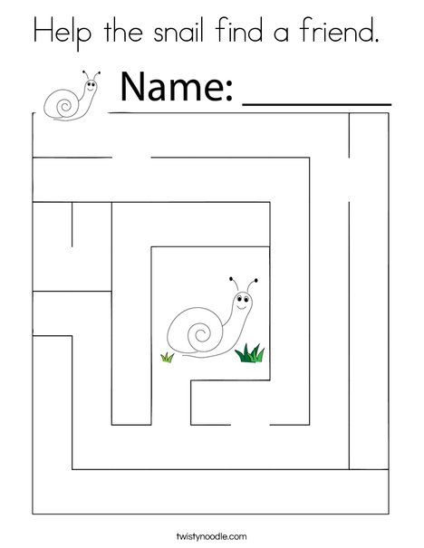 Help the snail find a friend Coloring Page - Twisty Noodle ...