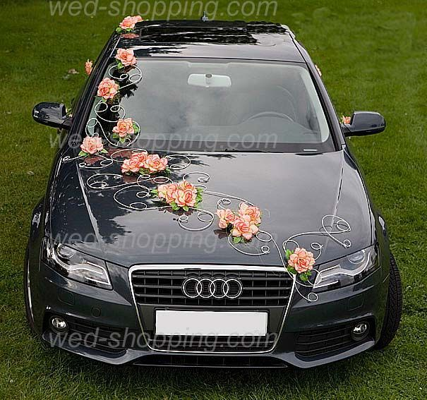 décor de voiture  | Décoration voiture de mariage Fleurs orange