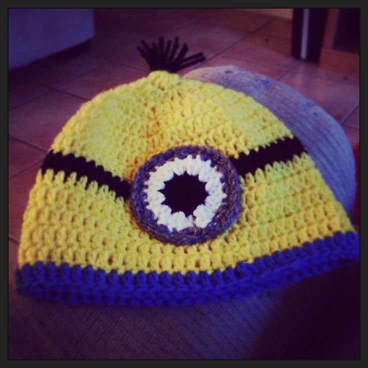 Free Knitting Pattern For Minion Hat With Ear Flaps : My 2nd minion hat. Came out better than my first. No ear flaps on this one. F...