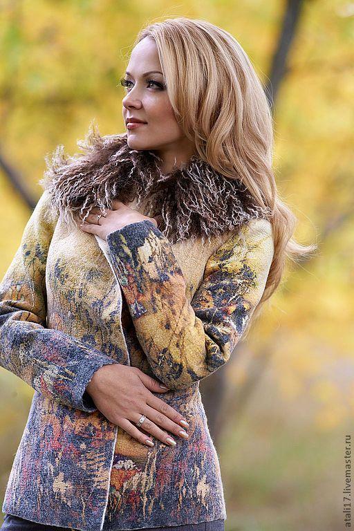 Купить Жакет Саванна-войлок - рисунок, жакет из войлока, жакет валяный, валяная одежда