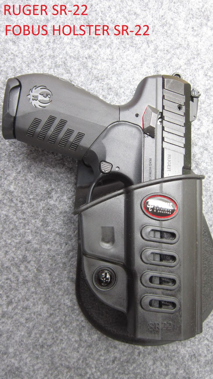 Another angle of a Ruger SR-22 In a Fobus SR 22 retention holster