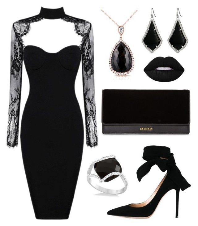 """""""Glam goth"""" by laurenharty ❤ liked on Polyvore featuring Gianvito Rossi, Balmain, Kobelli, Allurez, Kendra Scott and Lime Crime"""