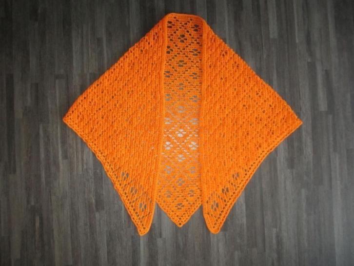 gehaakte omslagdoek/sjaal oranje Katoen