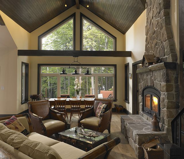 Living Room With Stone Accent Fireplace