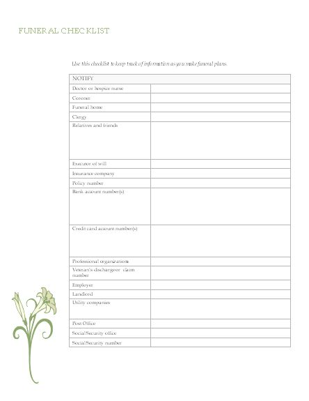 25 best ideas about Funeral Planning – Funeral Checklist Template