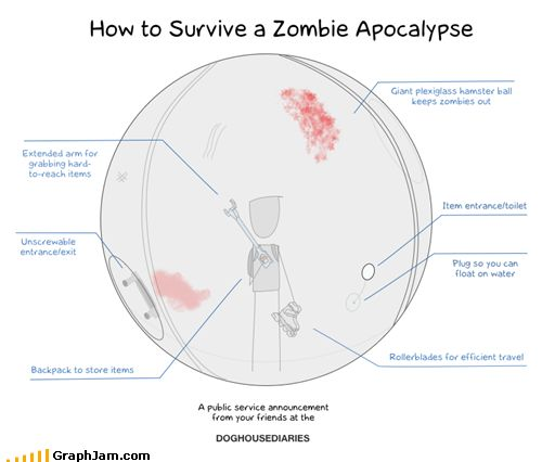 funny graphs - A Foolproof Plan @Lucas Mitzel: Funny Stuff, Apocalypse Survival, Things, Zombie Apocalypse, Zombie Survival, Hamster Ball, Zombies