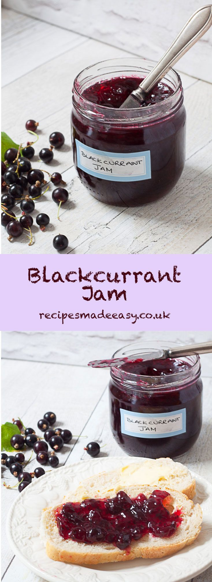 A sharp and deliciously tangy jam. Easy to make with just 2 ingredients, blackcurrant jam - No added pectin via @jacdotbee