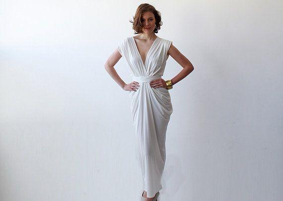 SALE White wedding maxi rehearsal dress Cocktail by BLUSHFASHION