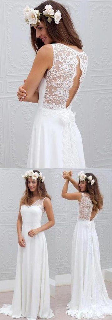 Cheap Simple Beach Open Back Wedding DressesChiffon Lace GownSW60