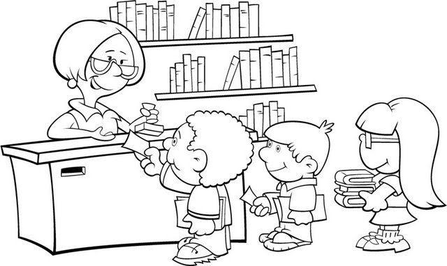 Imagenes biblioteca escolar para colorear - Imagui