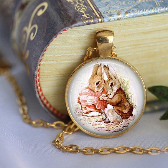 Beatrix Potter Book Pendant Necklace  Peter by LiteraryArtPrints