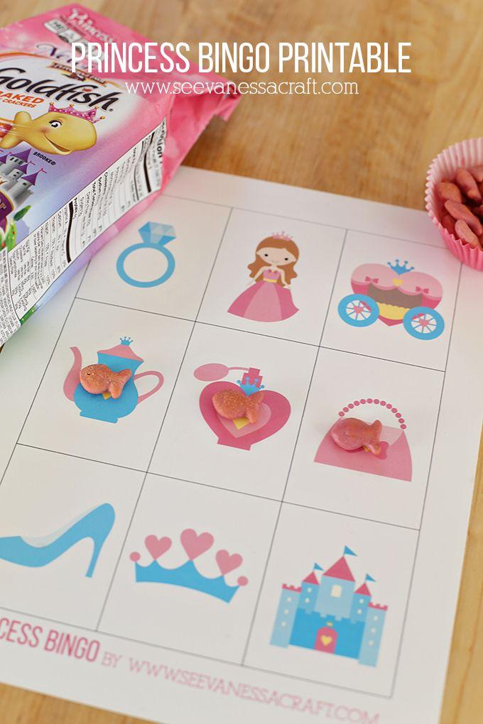 Princess Bingo Printable Game with Goldfish Princess crackers #GoldfishSmiles #ad