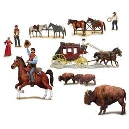 Sceneseters Wild West Characters -  Een 9 delige wanddecoraties van western figuren. Deze kunt u ook over de woestijn decoratie plakken om zo in de juiste sfeer te komen. Afmeting: 32cm tot 130cm. | www.feestartikelen.nl