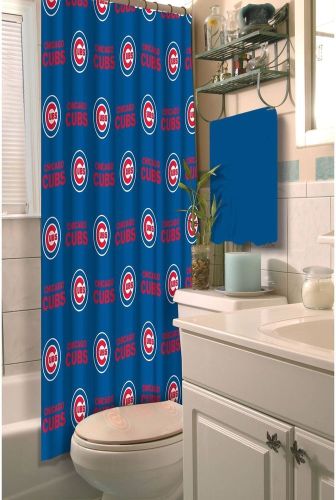 Chicago Cubs Shower Curtain Fabric Bathroom Decor Baseball