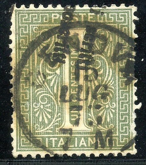 Vitt. Em. II 1 c. ann. a mezzo stampa tipografica + C1 di Genova 15 LUG 73 (T.14 nota a pag. 452 del Cat. Sassone). Legg. difettoso ma raro. Cert. Bot.