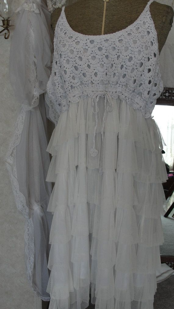25 best crocheted dresses images on pinterest shabby for Alternative plus size wedding dresses