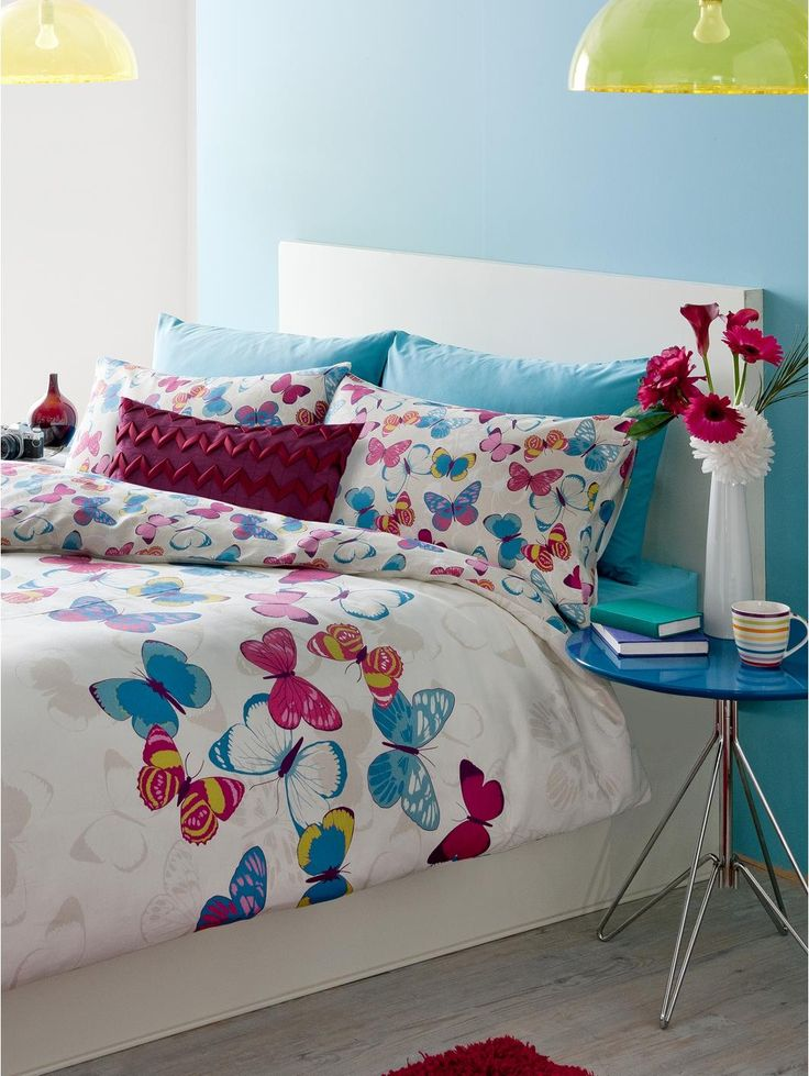 Butterfly Fusion Duvet Cover and Pillowcase Set A beautiful printed butterfly design which will look stunning in any bedroom. Includes 1 pillowcase for single and 2 pillowcases for double and king sizes. Colour: Multi. 50% cotton, 50% polyester. Machine washable.