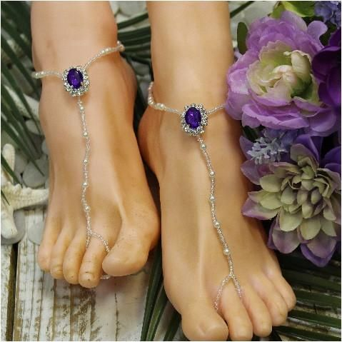 Amethyst hand beaded purple barefoot sandals Our amethyst purplebeaded barefoot sandals add just right amount of sparkle to your purple beach wedding. The perf