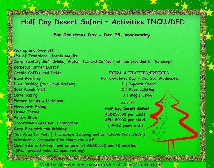 #Christmas #Special #Package - Half Day Desert Safari Tour - https://www.facebook.com/DesertSafariAD