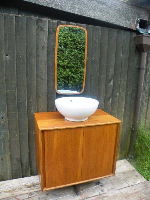 Mid modern teak danish 1960 39 s floating bathroom vanity - Mid century modern double bathroom vanity ...