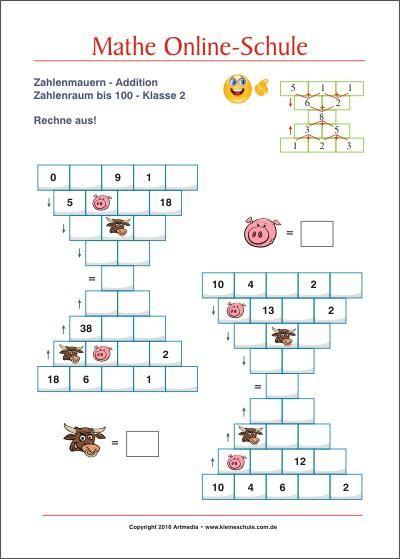 Zahlenmauern Rechenmauern Summe Bis 100 Mathe Klasse 2 Ideen