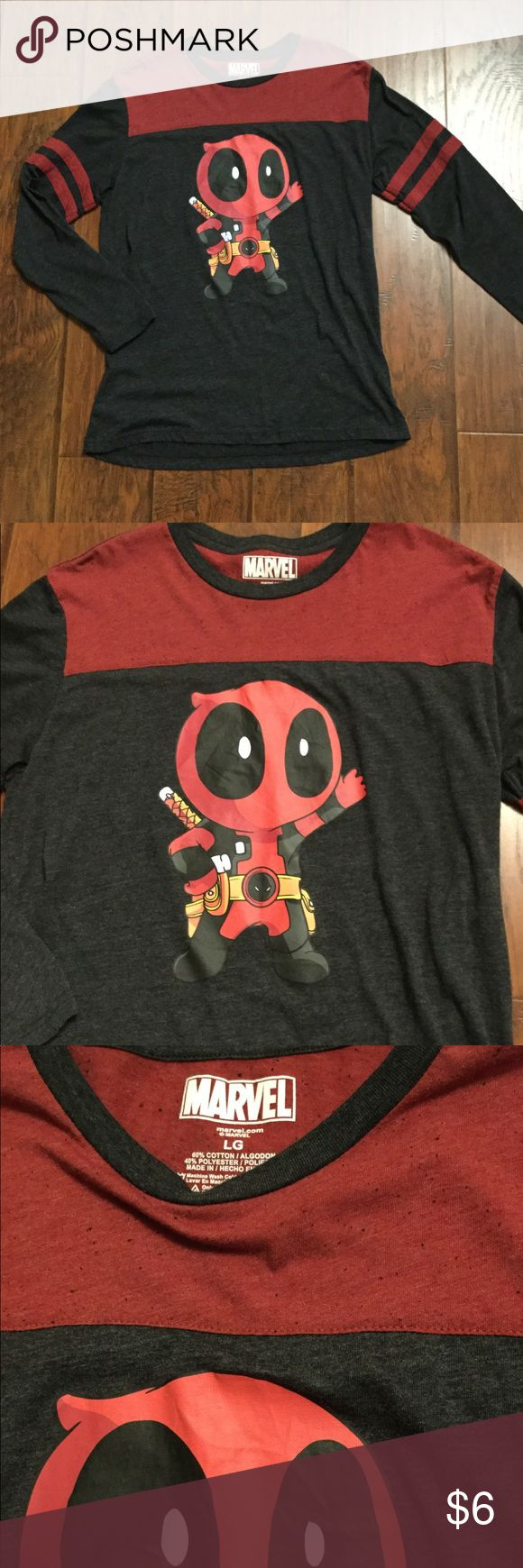 Deadpool Long-sleeve Shirt Marvel Deadpool long sleeved shirt. Cotton & polyester blend  chivi Deadpool character front design  size Large and in perfect like new condition! Marvel Shirts Tees - Long Sleeve