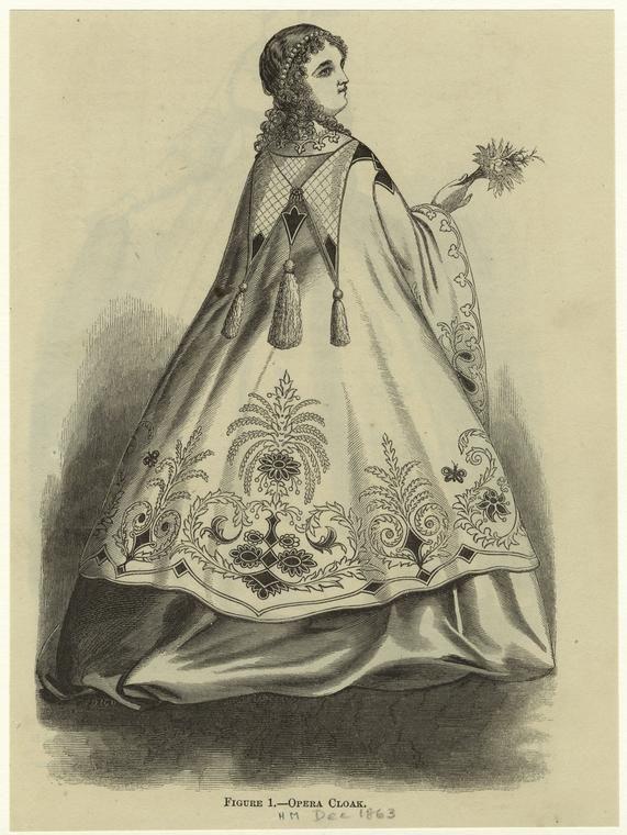 Opera cloak. Harper's Magazine December 1863. NYPL Digital Gallery.