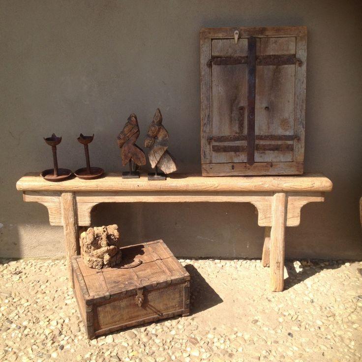Oud houten bankje sidetable kruk