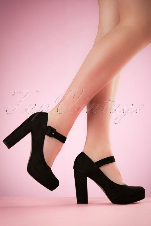 Tamaris - 70s Janice Suedine Pumps in Black