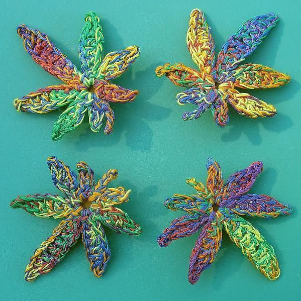 crochet pot leaf pattern free | Rainbow Marijuana Leaf Hair Clip by MerriJayne | Crocheting Ideas