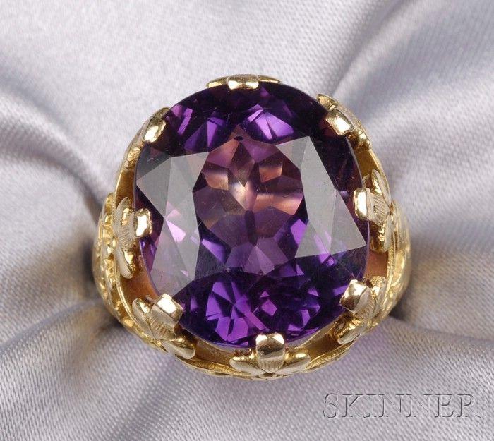 Renaissance Revival 18kt Gold And Amethyst Bishop S Ring