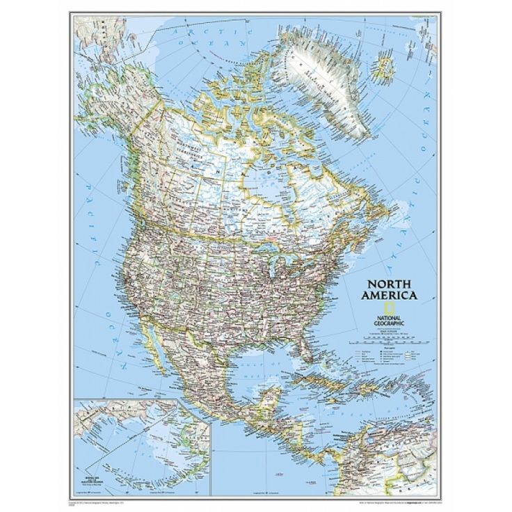 CARTE DE L'AMÉRIQUE DU NORD - 36x47 po. anglais /Aux Quatre Points Cardinaux / de National geographic. 39.99$/ plastifiée 63.95$.