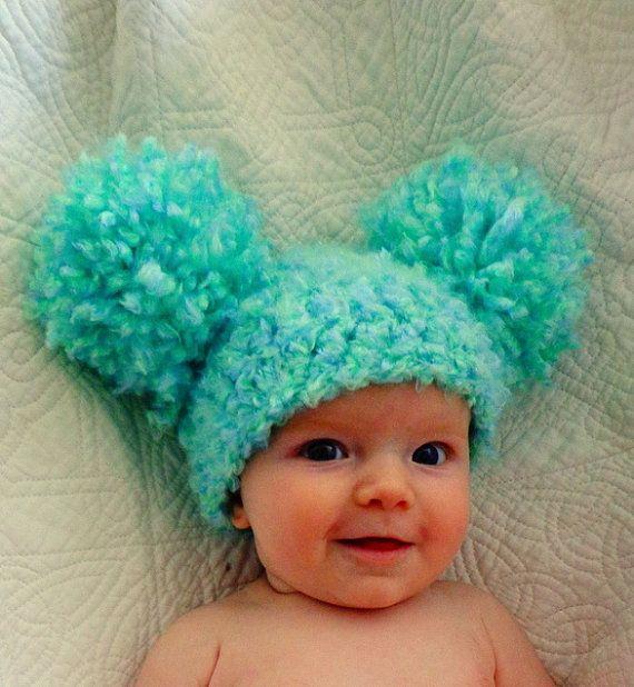 Baby Hats Baby Girl Hats Baby Pom Pom Hats Crochet Baby by YumBaby, $19.95