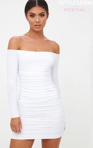 c61356ff6776b White Bardot Ruched Bodycon Dress in 2019 | Clothes | Bodycon dress, Dresses,  Long sleeve bardot dress