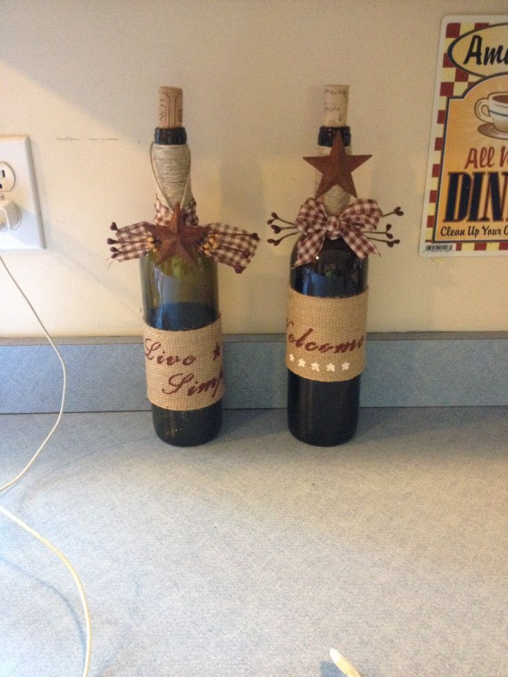 Diy burlap quot welcome and live simple wine bottle