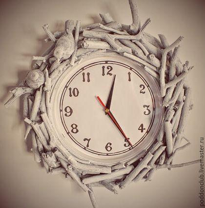 """Часы для дома ручной работы. Ярмарка Мастеров - ручная работа. Купить Часы """"Любовь"""". Handmade. Белый, птички на ветке, уют"""